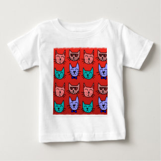 Cat faces on red baby T-Shirt