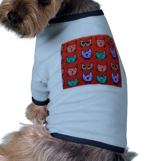 Cat faces on red doggie t-shirt
