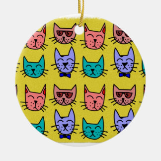 Cat faces on sand christmas ornament