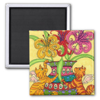 Cat Fairies with Ornate Vase of Lilies Refrigerator Magnets