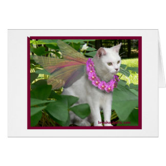 Cat Fairy with Pansy Necklace Notecard