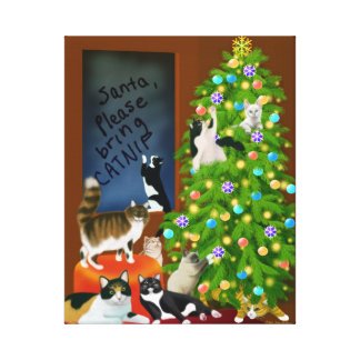 Cat Family Christmas Wrapped Canvas Canvas Prints