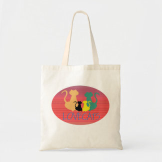 Cat Family Colorful Bright Vibrant Silhouette Chic Tote Bag