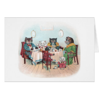 Cat Family Sits Down to Breakfast Cards