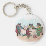 Cat Family Sits Down to Breakfast Keychains
