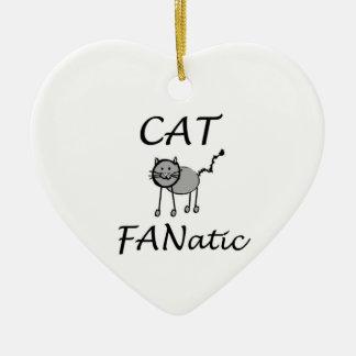 Cat fanatic ceramic heart decoration