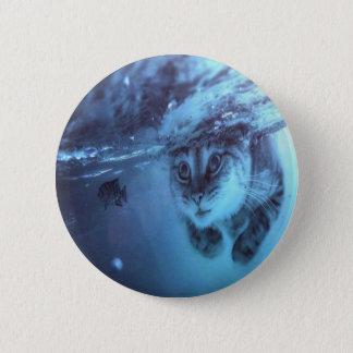 Cat fish 6 cm round badge