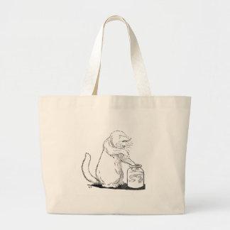 Cat Fishing in Glass Jar Jumbo Tote Bag