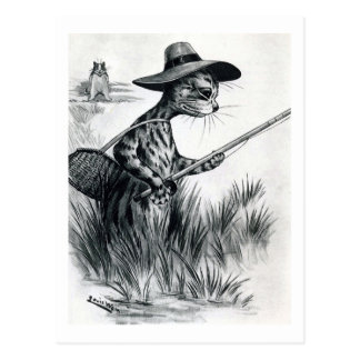 Cat fishing, Louis Wain Postcard
