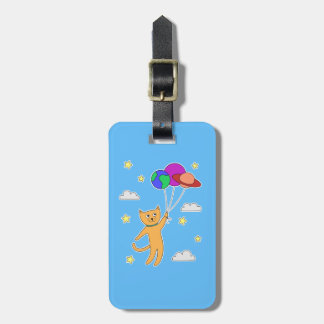 Cat Floating off Into Space with Planet Balloons Luggage Tag