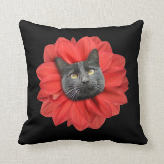 """""""Cat Flower"""" Red Cat Head LOL Funny Throw Pillow"""