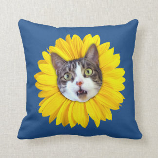 """""""Cat Flower"""" Yellow LOL Funny Throw Pillow"""