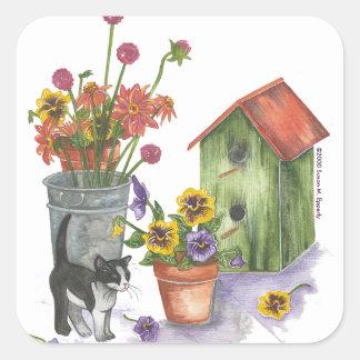 "Cat Flowers Birdhouse Watercolor ""Willie"" Square Sticker"