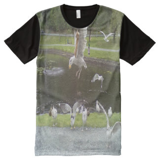 Cat flying a Seagull All-Over Print T-Shirt