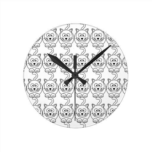 Cat fofo round clock