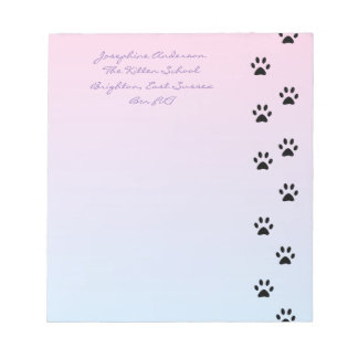 Cat Footprints Pink and Blue Notepad