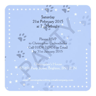 "Cat Footprints with Blue Pattern 5.25"" Square Invitation Card"