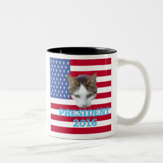 Cat for For President 2016 Pillows Two-Tone Coffee Mug