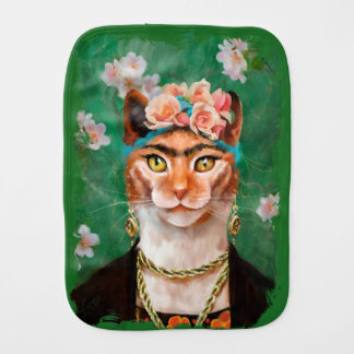 cat Frida with flowers Burp Cloth