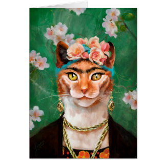 cat Frida with flowers Card