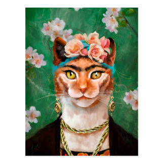 cat Frida with flowers Postcard