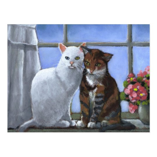 CAT FRIENDS: PASTEL ART POSTCARD