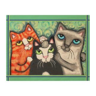 Cat Friends Selfie Wood Canvas Art