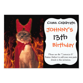 Cat From Hell 13 Cm X 18 Cm Invitation Card