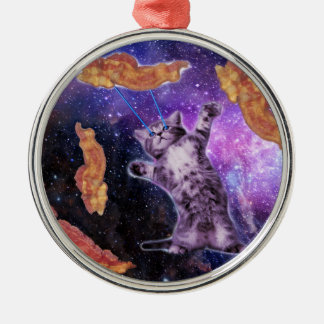 Cat Frying Bacon With Eye Laser Christmas Ornament