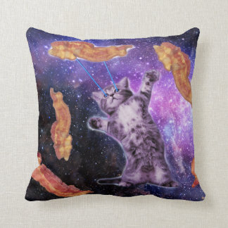 Cat Frying Bacon With Eye Laser Cushion