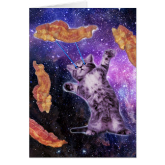 Cat Frying Bacon With Eye Laser Greeting Card