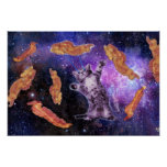 Cat Frying Bacon With Eye Laser Poster