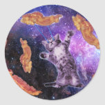 Cat Frying Bacon With Eye Laser Round Sticker