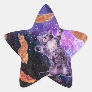 Cat Frying Bacon With Eye Laser Star Sticker