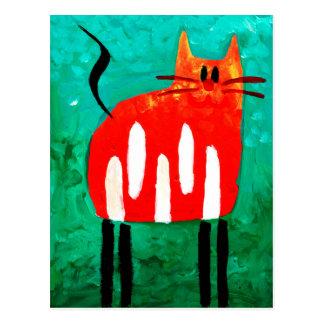 Cat fun drawing painting art handmade postcard