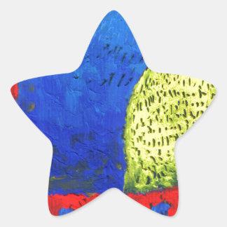 Cat fun drawing painting art handmade star sticker