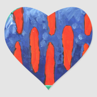 Cat fun drawing painting art handmade heart sticker