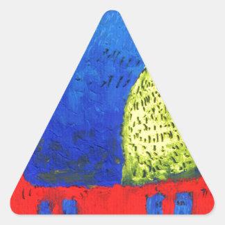 Cat fun drawing painting art handmade triangle sticker