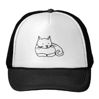 Cat - fun kitty ink line drawing art symbol logo trucker hat