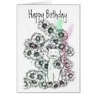 Cat Garden Flowers Black White Happy Birthday Card