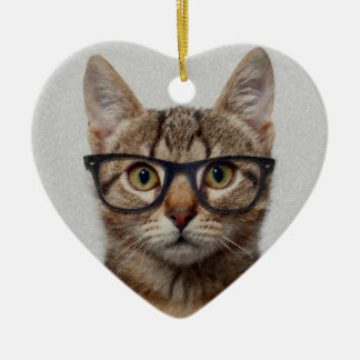 Cat geek christmas ornament