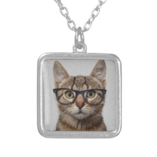 Cat geek silver plated necklace