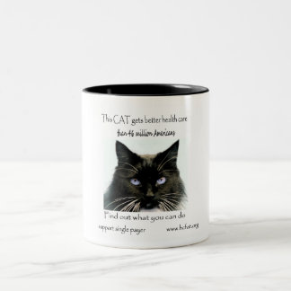Cat Gets Better Health Care Two-Tone Coffee Mug