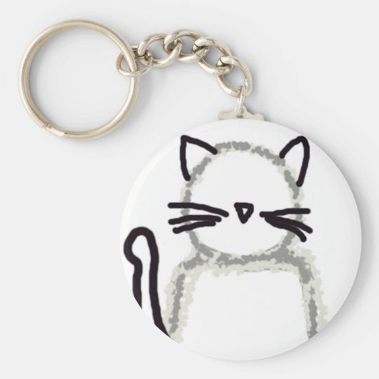 Cat Ghost Avatar Basic Round Button Key Ring