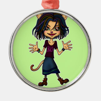 cat girl Silver-Colored round decoration