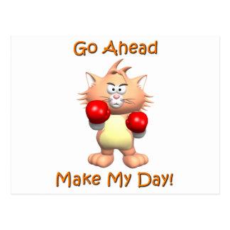 Cat - Go Ahead Make My Day Postcard
