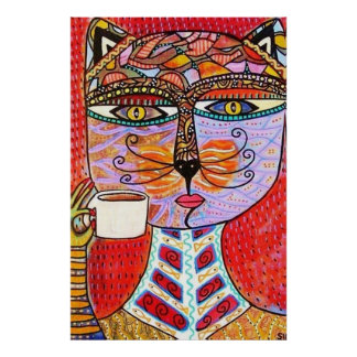 Cat Goddess Drinking Espresso Poster