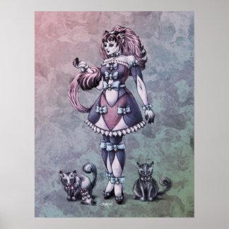 Cat Goddess Fantasy Art 17x22 Print
