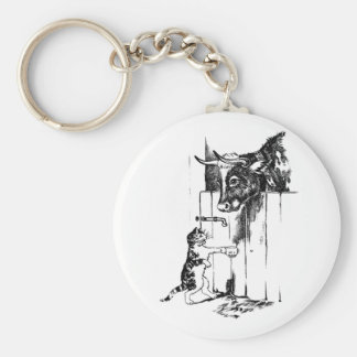 Cat Goes to Cow for Milk Basic Round Button Key Ring