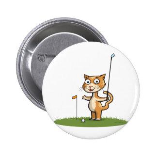 Cat Golf 6 Cm Round Badge